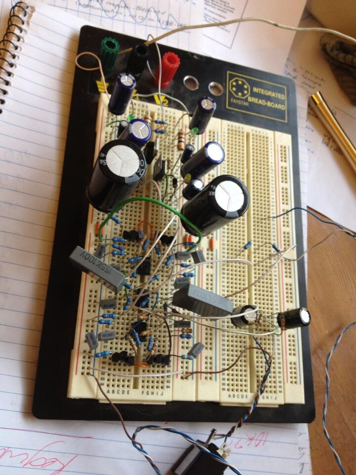 View of the prototype headphone amplifier assembled on a breadboard.